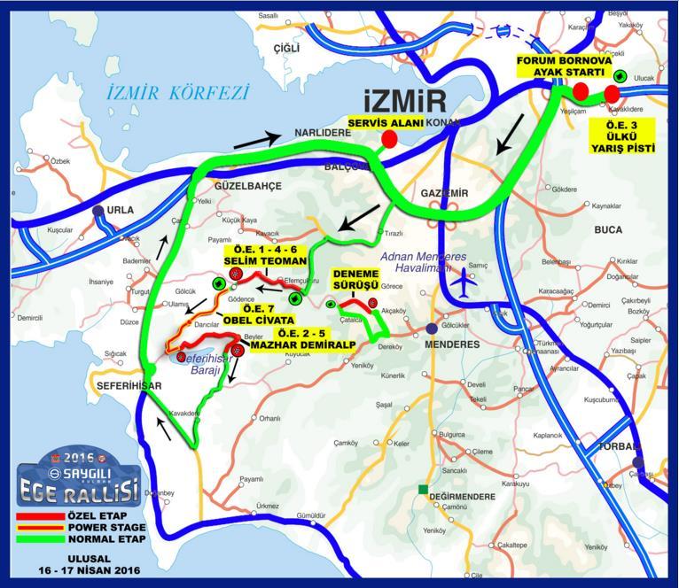 2016 Ege Rallisi etap haritası.
