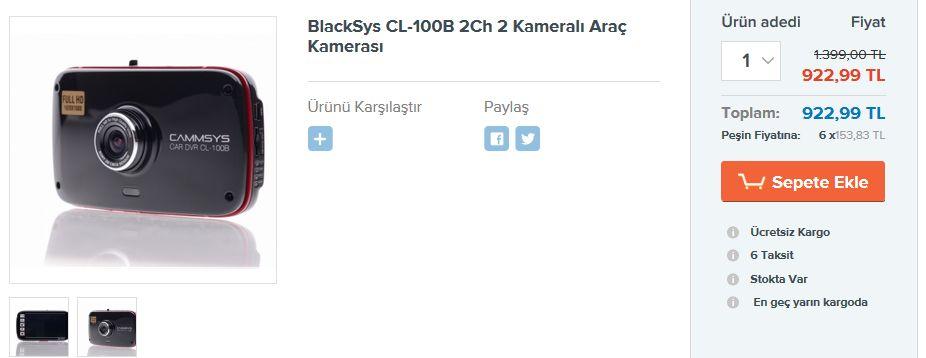 BlackSys CL-100B 2Ch 2 Kameralı Araç Kamerası